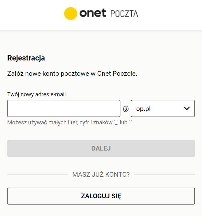 Poczta Onet rejestracja